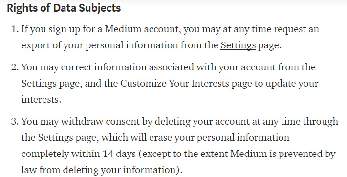 Medium Privacy Policy: Excerpt of Rights of Data Subjects clause