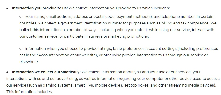 Netflix Privacy Statement: Excerpt of Collection of Information clause