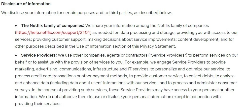 Netflix Privacy Statement: Excerpt of Disclosure of Information clause