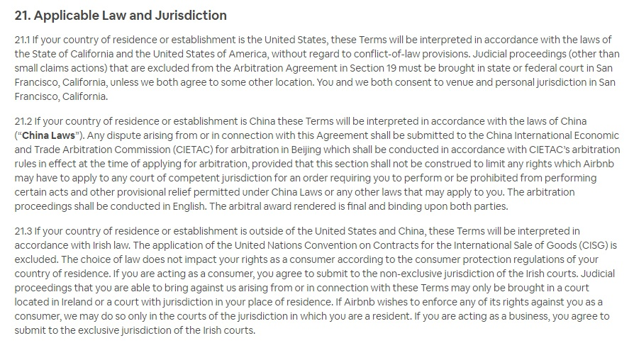Airbnb Terms of Service: Applicable Law and Jurisdiction clause