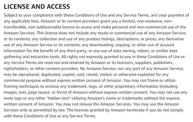 Amazon Conditions of Use: License and Access clause