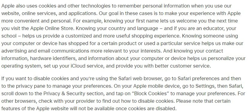 Apple Privacy Policy: Cookies clause excerpt - Disable and opt-out section