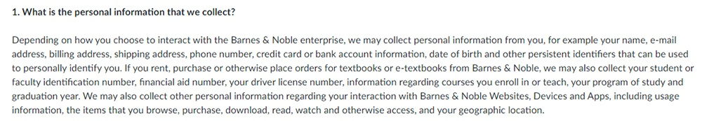Barnes and Noble Privacy Policy: What Personal Information we Collect clause