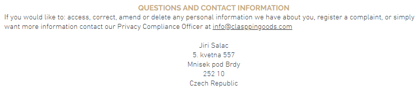 Clasppin Privacy Policy: Questions and Contact Information clause