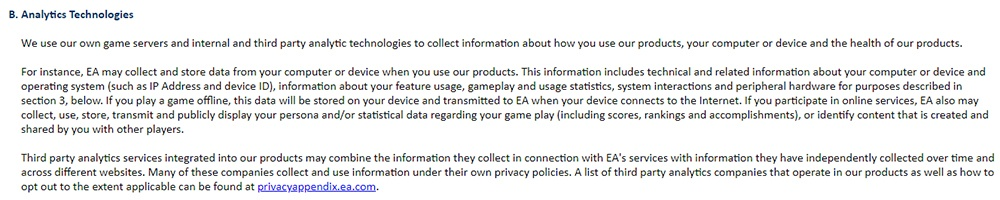 EA Privacy and Cookie Policy: Analytics Technologies clause