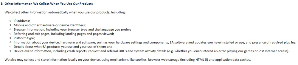 EA Privacy and Cookie Policy: Other Information We Collect When You Use Our Products clause