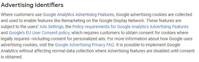 Google Analytics Help: Safeguarding Data - Advertising Identifiers section