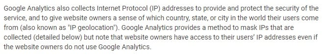 Google Analytics Help: Safeguarding Data - Cookies and Identifiers - IP Address section