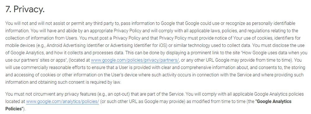Google Analytics Terms of Service: Privacy clause excerpt
