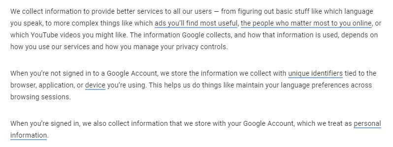 Google Privacy Policy: Information collected clause excerpt