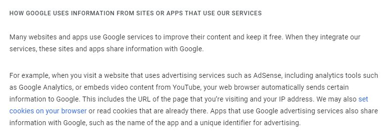 Google Privacy and Terms: How Google Uses Information from Sites or Apps that Use Our Services clause excerpt