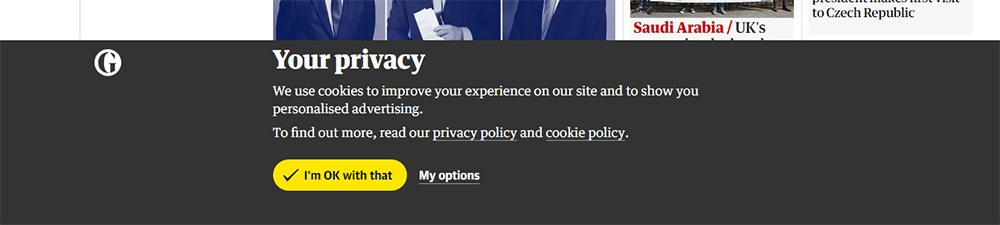The Guardian Cookie Consent Notice