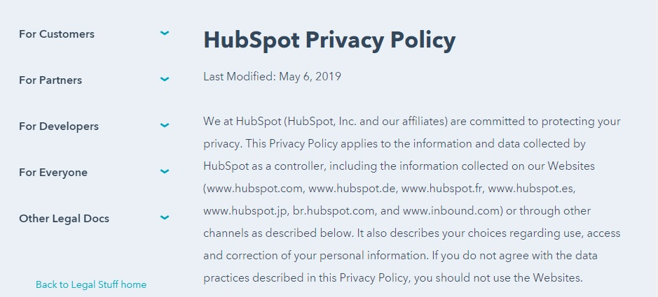 HubSpot Privacy Policy: Intro and customer list