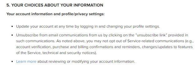 Instagram Privacy Policy: Excerpt of Your Choices About Your Information clause