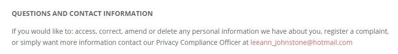 Lee-Ann Johnstone Privacy Statement: Questions and Contact Information clause