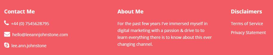 Lee-Ann Johnstone website footer screenshot