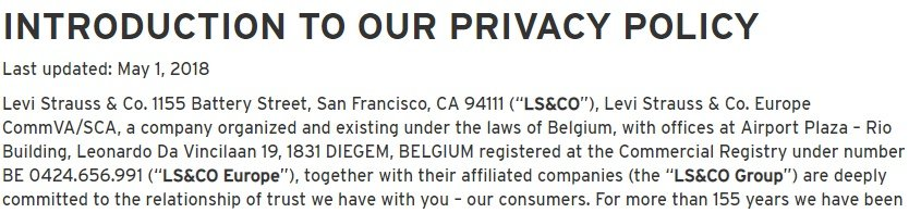 Levis Privacy Policy: Introduction clause with contact information