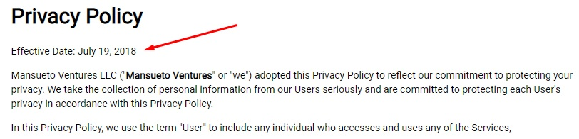 Mansueto Ventures Privacy Policy: Effective Date highlighted