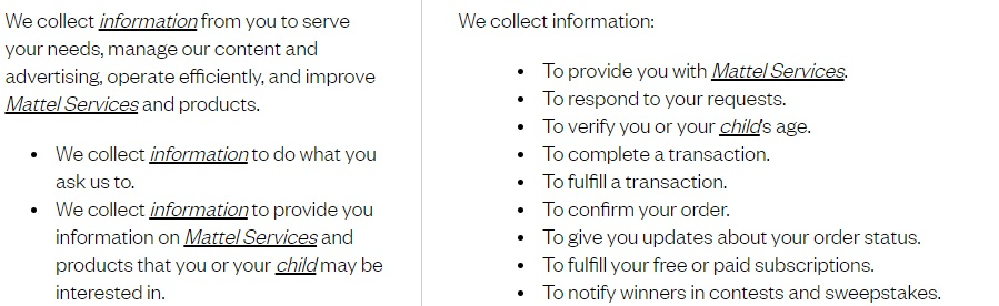 Mattel Privacy Statement: Why do we collect information clause excerpt