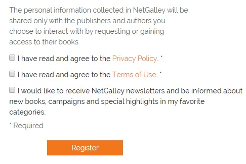 NetGalley Register form with checkboxes