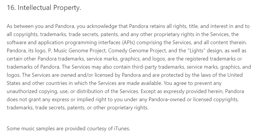 Pandora Services Terms of Use: Intellectual Property clause