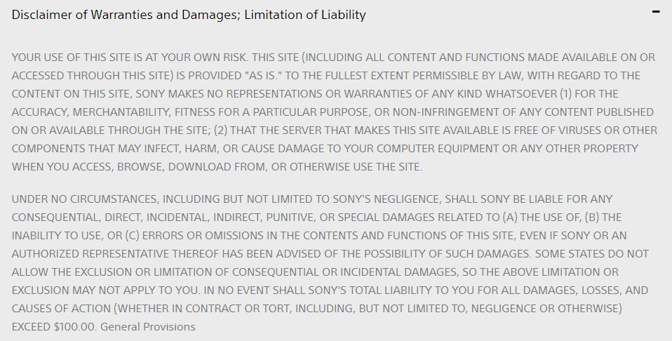 Sony Terms and Conditions: Disclaimer of Warranties and Damages, Limitation of Liability clause excerpt