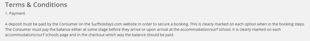 Surfholidays Terms and Conditions: Payment clause