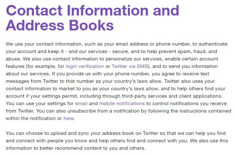 Twitter Privacy Policy: Contact Information and Address Books clause excerpt