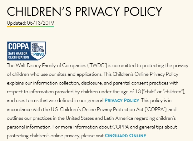 Walt Disney Childrens Privacy Policy: Intro section