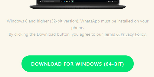 WhatsApp download screen with with link to Terms and Privacy Policy
