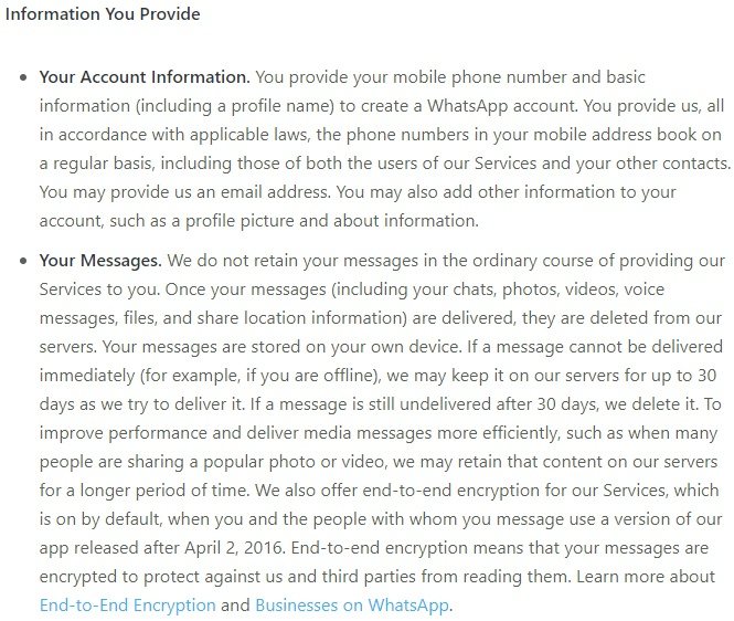 WhatsApp Privacy Policy: Excerpt of Information You Provide clause