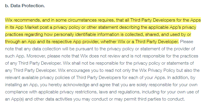 Wix App Market Terms of Use: Data Protection clause