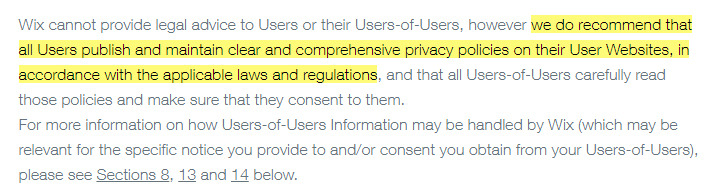 Wix Privacy Policy: Recommend that users publish and maintain a Privacy Policy clause excerpt