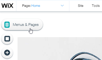 Wix Support: Adding a page with Menus and Pages button