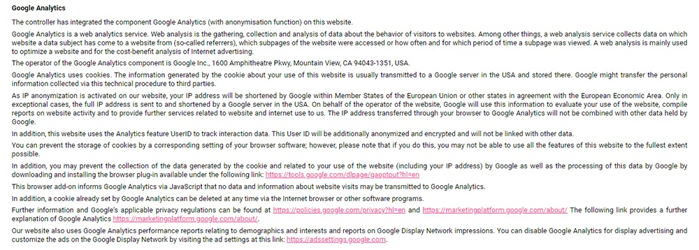 Womens Best Privacy Policy: Google Analytics clause
