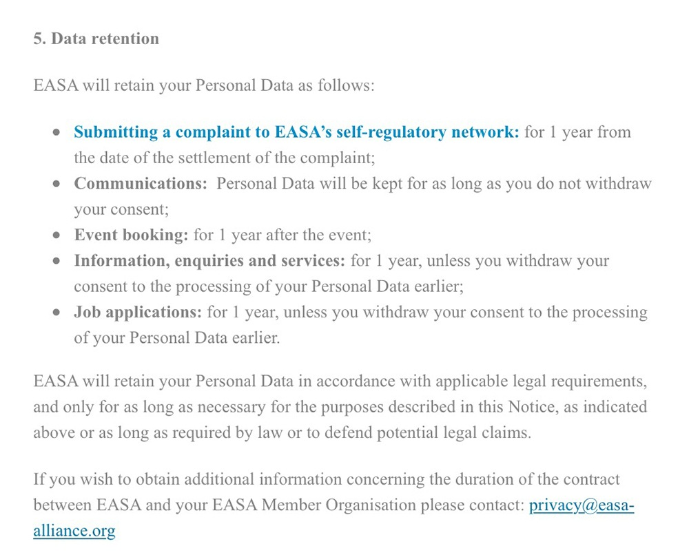 EASA Privacy Policy: Data Retention clause