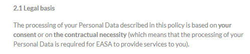 EASA Privacy Policy: Excerpt of Legal Basis clause