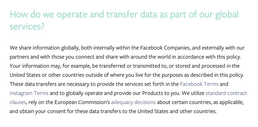 Facebook Data Policy: International data transfer clause