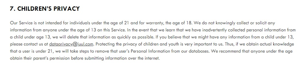 juul-privacy-policy-age-childrens-clause