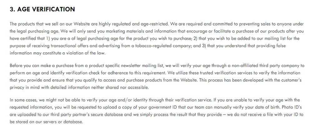 JUUL Privacy Policy: Age Verification clause