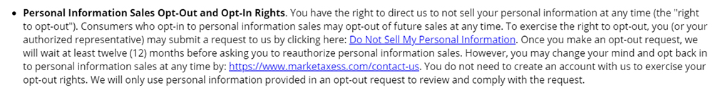 MarketAxess Privacy Policy: Personal Information Sales Opt-Out and Opt-in Rights clause
