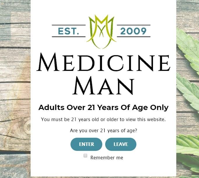 Medicine Man age verification pop-up