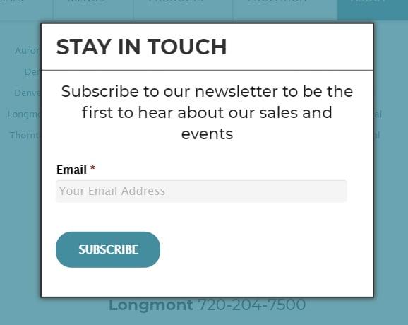 Medicine Man email newsletter sign-up form