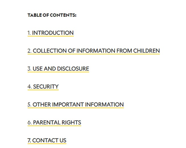 National Geographic Kids Privacy Policy: Table of Contents