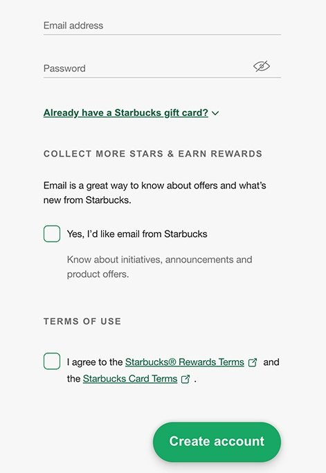 Starbucks Create Account form with checkboxes and email consent