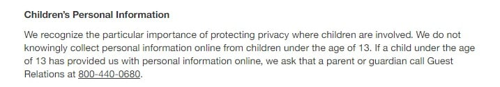 Target Privacy Policy: Children's Personal Information clause