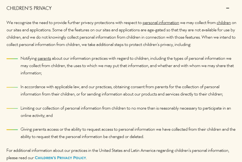 Walt Disney Privacy Policy: Children's clause