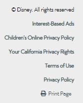 Walt Disney website footer with links