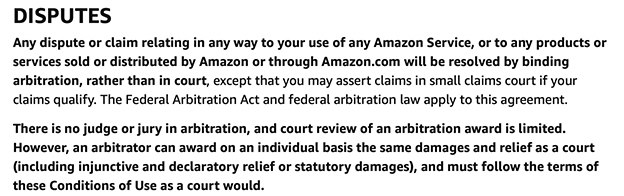 Amazon Conditions of Use: Disputes clause excerpt