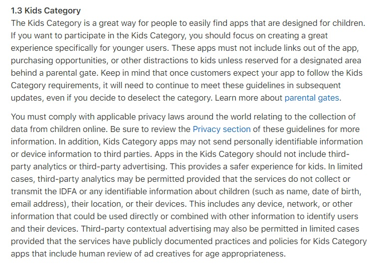 Apple App Store Review Guidelines: Kids Category clause